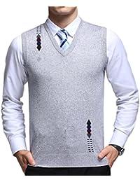 FULIER Chaleco sin mangas con cuello en V de lana para hombres Negocio casual Caballero Ropa de punto de punto Suéteres Cardigans Tank Tops