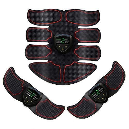Fujitie Abs Trainer Gürtel EMS Muskelstimulator Muskeltoner, USB Lade LCD Display Faul Haushalt Fitness Abnehmen Bauchmassage Fitnessgeräte