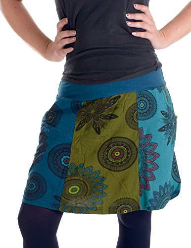 Vishes - Alternative Bekleidung – Mit Blumen bedruckter Patchworkrock aus Baumwolle – mit Taschen Türkis-Blau