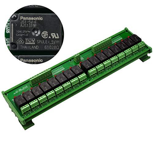 Electronics-Salon Rail DIN/support de relais de puissance 16 SPDT Interface, Module relais 5 V, 10A bobine.