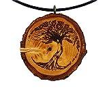 Baum des Lebens 20 Holz Hals-Kette - Natur - Holzanhänger - Vegan - Nachhaltig - Frauen - Halskette - Gravur - Yoga - Bedeutung - Geschenk - Natur-Schmuck - Damen - Frauen - Holzschmuck - Hippie