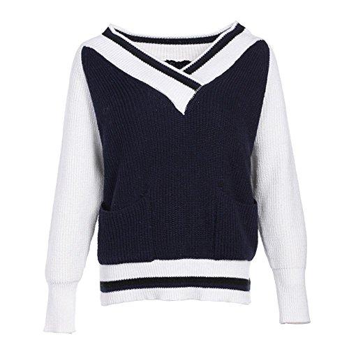 Strickpullover V Kragen Tasche Mode Frauen Langarm Loose Tops Elastizität Sweatshirts Pullover . Deep Blue . One Size -