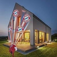 FC Bayern München Logo Projektor Fanartikel | LED-Motivstrahler FCB-Logo | Weihnachtsbeleuchtung für Bayern München Supporter (rot/weiß)