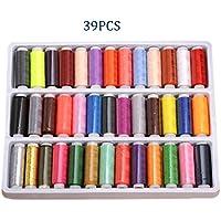 Sunblue filo da cucito, confezione di arcobaleno assortiti 39colori bobine di filo di poliestere 150M corde per cucire a mano, macchina da cucito e Quilting cuciture - Cucire Caddy