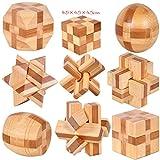 Joyeee 9 Pezzi Set Legno Rompicapo Cube Puzzle Game 3D - Gioco di Mente Cubo #4- Classici Puzzle di Set Per Bambini e Adulti