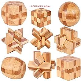 Joyeee 9 Pezzi Set Legno Rompicapo Cube Puzzle Game 3D – Gioco di Mente Cubo #4- Classici Puzzle di Set Per Bambini e Adulti