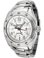 Sector - R3253660045 - Race GMT - Montre Homme - Quartz Analogique - Dateur - Bracelet Acier- Cadran Blanc - 3 Aiguilles