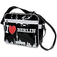 Deutschland Souvenirs Lacktasche I love Berlin mit Skyline, schwarz