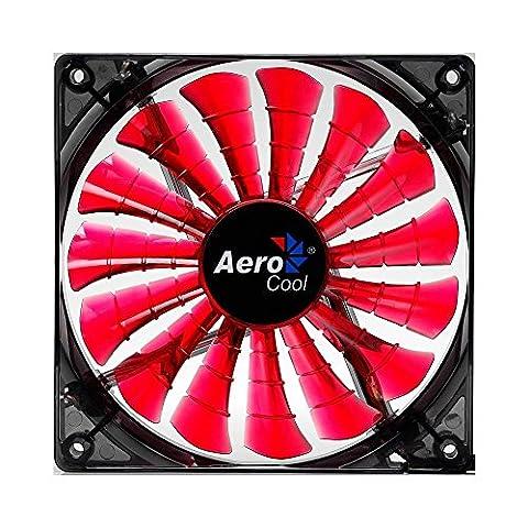 Aerocool Shark 12 cm Quad LED Fan with 15 Blade Fluid Dynamic Bearing - Red