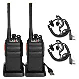 Radioddity R2 PMR446 Funkgeräte Walkie Talkie Set 16 Kanäle Walki Talki mit Headset (1 Paar)