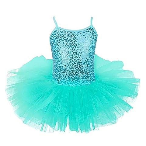 YiZYiF Enfant Filles Justaucorps Danse Tutu T shirt Paillettes Sans Manches 4-8 Ans Turquoise 5-6 ans