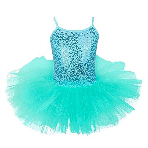 YiZYiF Mädchen Ballettkleid Ballett Trikot Mädchenkleid (104-110, Türkis mit - Tutus Halloween-kostüme