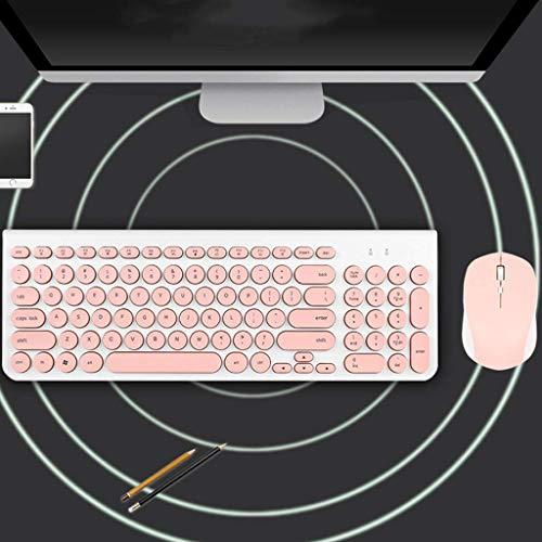 Kabellose, Wasserdichte Tastatur und Maus, stummgeschaltet, rund, keycap, Multimedia-Computer, Büro, Schreibmaschine,Pink