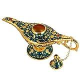 Magic Aladdin Lamp, Retro Metal Fiaba Aladdin Magia Genie Teiera Lampada a olio Home Decoration Table(blu trasparente)