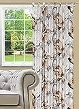 140x245 beige braun Vorhang Vorhänge Schlaufenschal Fensterdekoration Blickdicht Retro