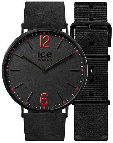 Ice-Watch - CITY Redbridge - Montre noire pour femme avec bracelet en cuir + bracelet nylon supplémentaire - 001384 (Small)