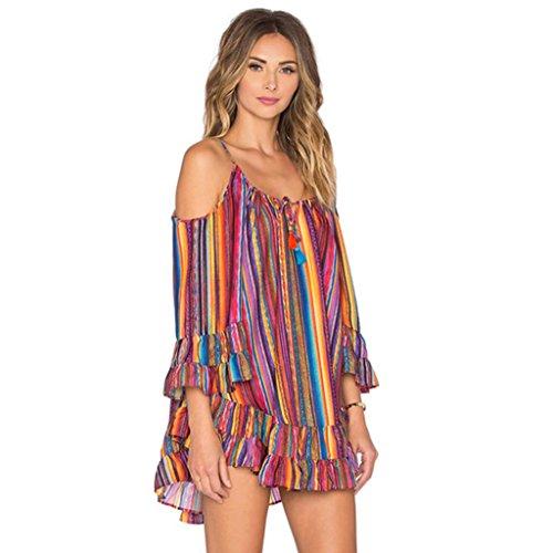BakeLIN Kleid Damen Sommer Mode Casual Chiffon Regenbogen Drucken Streifen Schlinge Beach Strandkleid Minikleid (S~3XL) (XL) (Waffe Schlinge)