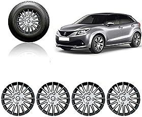 Autorepute Full Wheel Cover Cap Silver & Black 15 Inches Press Type Fitting For -Maruti Suzuki Baleno 2015
