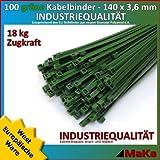 100 Stk Kabelbinder grün 140 x 3