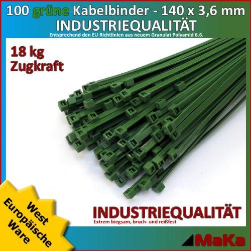 100 Stk Kabelbinder grün 140 x 3,6 mm Europäische Ware-/ INDUSTRIEQUALITÄT -