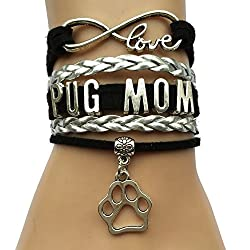 Pulsera de Infinity Love Pug Mom