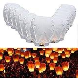 JPSOR 14pcs White Paper Sky lanterne cinesi per Natale, Capodanno Fly lampada della candela per la cerimonia nuziale dei desideri del partito immagine