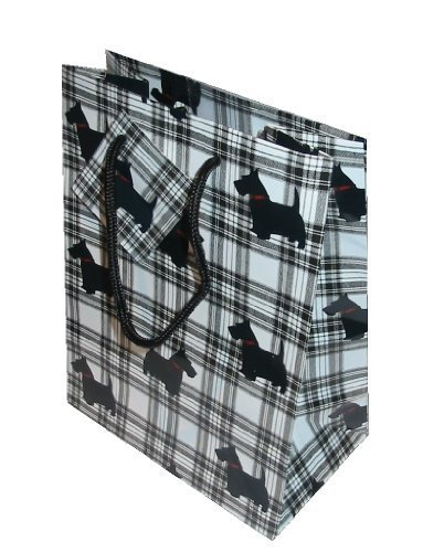 luxury-gift-bag-tartan-scottie-dog-black-white-check-medium-size