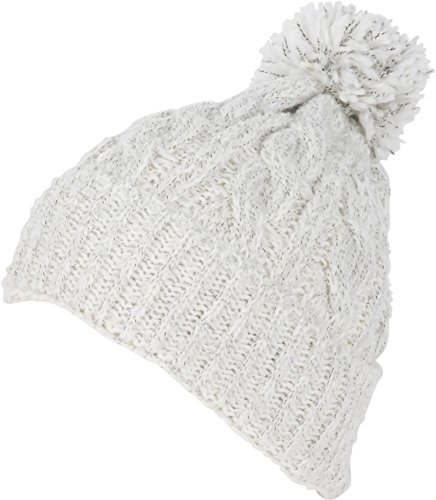Sakkas CADK1519 Greer Unisex Heidekraut texturierte Knit Pom Pom Beanie Hut - Weiß - One Size Regular -