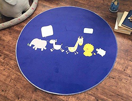 Global- Kinder runden Teppich Polyester Computer Stuhl Matten Wohnzimmer Schlafzimmer Schlafsofa Edge Anti - Gleitpad Baby Crawling Carpet ( Farbe : Navy blau , größe : Diameter 100cm - Navy Stuhl Computer