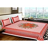"""Fashion Dziner Floral Print Double King Size Bed Sheet Blue Color 1 Bed Sheet With 2 Pillow Covers Size (L X W) : (120"""" X 120"""" Inches & 305 X 305 CM) Bed Sheet ,Blanket, Bedsheet- Multicolor, Classic, Sobar, Hotel, Royal, Rich, Girls, Boys,"""