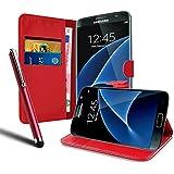 Housse Etui Coque Portefeuille en Cuir Rouge Pour Samsung Galaxy S7 Edge SM + STYLET OFFERT !