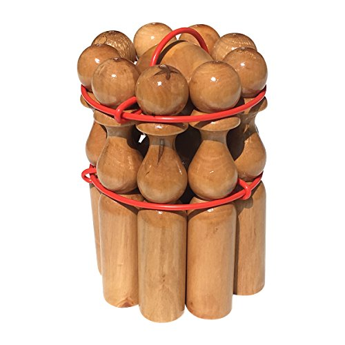 GICO Kegelspiel Kegel Set Bowling aus Holz groß für Kinder und Erwachsene - Massivholz 30 cm holztypischer Maserung - 3019e