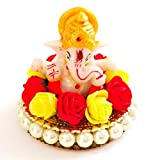 #6: Lord Ganesha Idol on Ornamental Base of Red and Yellow Flowers and Pearls, for Car Dashboard / Home Decor / Office Showpiece