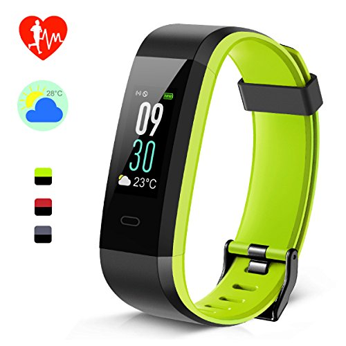 Fitness Tracker, Farbdisplay & Doppelte Farbe Armband Aktivitäts-Tracker, Wetter Temperatur Puls Schlaf Monitor IP68 Wasserdicht Smartwatch Anruf SMS SNS Push für Kinder Damen Herren Android iOS (Schwarz-Grün)