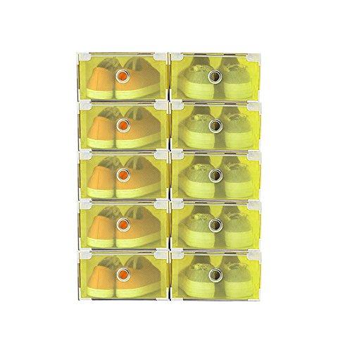 Vinteky® 10x Cajas Almacenaje Plegable de plástico Cajón Organizador Transparente envase de la Caja para Zapatos Apilable Plegable Contenedor. (Amarillo, Metal Border)