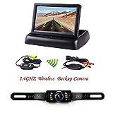 "Podofo Wireless Backup Camera Kit 4.3"" Foldable Car TFT LCD Mirror Monitor"