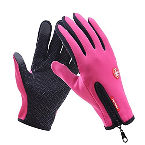 Tracffy Man & Woman Unisex Waterproof Windproof Zipper Gloves Touch Screen Warm Winter for Outdoor Sport Driving Climbing Skiing Cycling Bike - Red Rose Size L