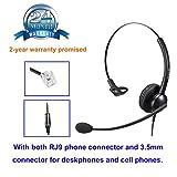 Cisco Telefon Headset RJ11 Call Center Kopfhörer für Cisco Telefon festnetz Headset Kopfhörer mit rauschunterdrückung Noise Cancelling Mikrofon mit zwei Klinke RJ und 3.5mm für Cisco und Mobiltelefone