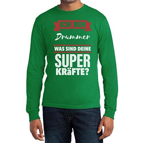 Geschenke für Drummer- Bin DRUMMER Was sind deine Superkräfte? Langarm T-Shirt Medium Grün