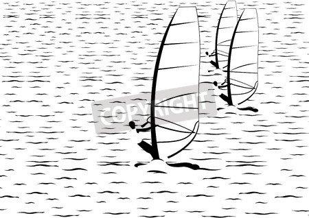 "Poster-Bild 90 x 60 cm: ""Leisure activities at sea. Black and white illustration."", Bild auf Poster"