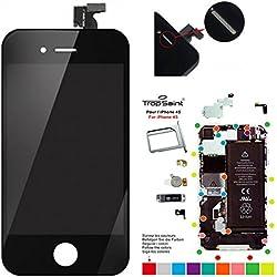Trop Saint® Ecran Noir pour iPhone 4S - Kit de Réparation avec Tapis de Repérage Magnétique et Outils