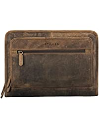 STILORD 'Maximilian' Cartella Portadocumenti A4 in pelle vintage Borsa per tablet Custodia rigida per PC e Macbook 13,3 Portablocchi con cerniera Zip