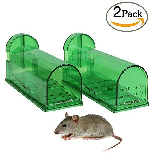 Cookey 2 Stück Mäusefalle, Umweltfreundliche Rattenfallen, Maus Lebendfallen Köder Lebend Falle - Professinonelle Kastenfalle für Garten & Haus