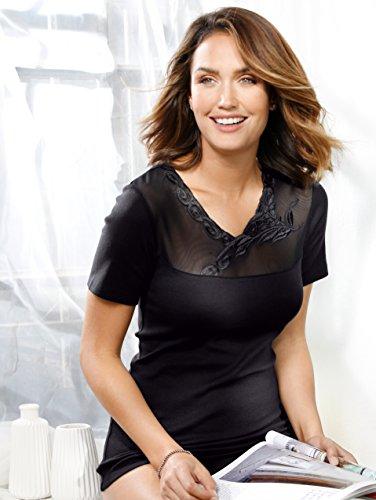 Damen Blazershirt mit besticktem Tülleinsatz am Decolleté by Simone Schwarz