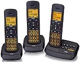 Switel DCT59073 Wizard DECT Uno schnurlosese Telefone, Dreier SET, Tasten und Display beleuchtet, Direktwahlspeicherplatz Taste 1 und 2