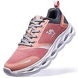 CAMEL CROWN Damen Laufschuhe Atmungsaktiv Traillaufschuhe Fitnessschuhe Stoßfest Sportschuhe Schnüren Wanderschuhe für Sportarten Rosa 6UK=40EU