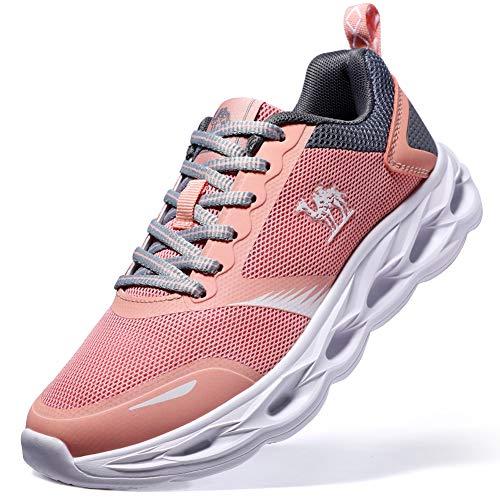CAMEL CROWN Fitnessschuhe Damen Laufschuhe Atmungsaktiv Turnschuhe Freizeit Sportschuhe Wanderschuhe Gym 39.5EU Rosa - Letzte Version (Rosa Turnschuhe Hot)