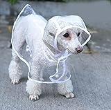 Cosanter Transparent Regenmantel Hund Haustier Regen Mäntel wasserdichte Welpen Regenmäntel Größe M Rückenlänge 30 cm