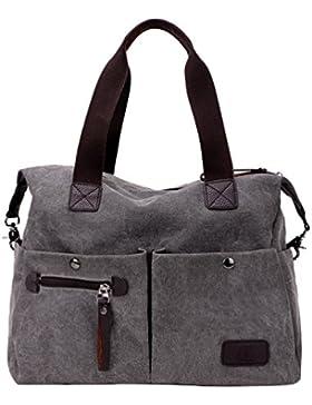 MissFox Damen Vintage Canvas Handtasche Groß Schultertasche Mehrfachtasche Mode Campus-Stil