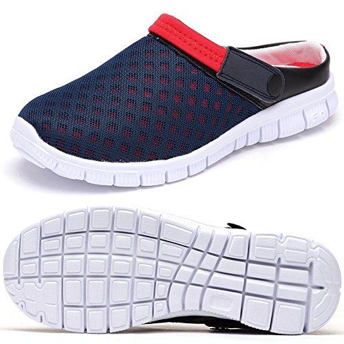 Odema da uomo estate traspirante in mesh leggero scarpe ciabatta sandali, (bluered), 41.5